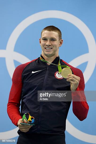 Gold medalist Ryan Murphy of the United States poses during the medal ceremony for the Men's 100m Backstroke Final on Day 3 of the Rio 2016 Olympic...