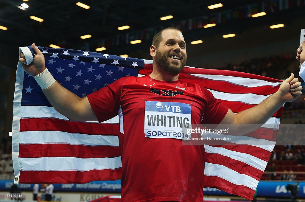 Gold medalist <a gi-track='captionPersonalityLinkClicked' href=/galleries/search?phrase=Ryan+Whiting&family=editorial&specificpeople=7460865 ng-click='$event.stopPropagation()'>Ryan Whiting</a> of the United States celebrates after the Men's Shot Put final on day one of the IAAF World Indoor Championships at Ergo Arena on March 7, 2014 in Sopot, Poland.