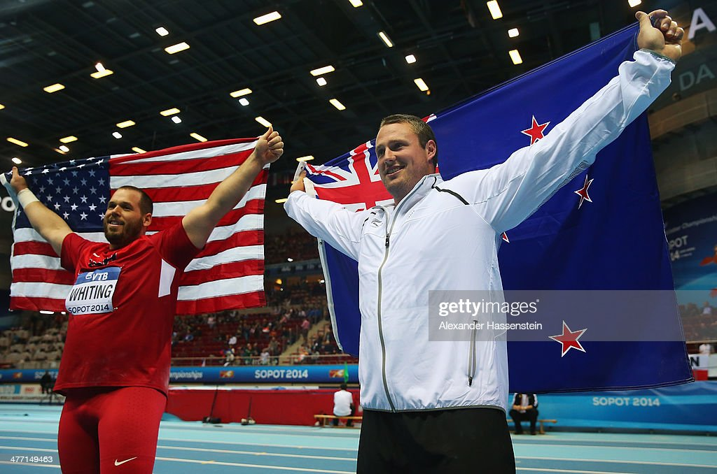 Gold medalist <a gi-track='captionPersonalityLinkClicked' href=/galleries/search?phrase=Ryan+Whiting&family=editorial&specificpeople=7460865 ng-click='$event.stopPropagation()'>Ryan Whiting</a> of the United States poses with bronze medalist Tomas Walsh of New Zealand after the Men's Shot Put final on day one of the IAAF World Indoor Championships at Ergo Arena on March 7, 2014 in Sopot, Poland.
