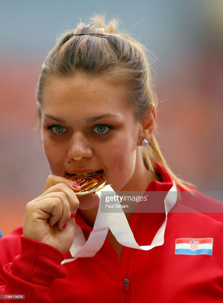 Gold medalist Sandra Perkovic of Croatia on the podium during the medal ceremony for the Women's Discus Throwduring Day Three of the 14th IAAF World Athletics Championships Moscow 2013 at Luzhniki Stadium on August 12, 2013 in Moscow, Russia.