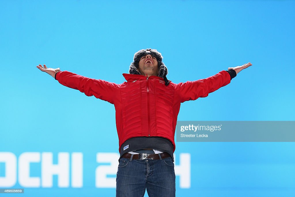 Gold medalist <a gi-track='captionPersonalityLinkClicked' href=/galleries/search?phrase=Sandro+Viletta&family=editorial&specificpeople=5638588 ng-click='$event.stopPropagation()'>Sandro Viletta</a> of Switzerland celebrates on the podium during the medal ceremony for the Alpine Skiing Men's Super Combined on day 8 of the Sochi 2014 Winter Olympics at Medals Plaza on February 15, 2014 in Sochi, Russia.