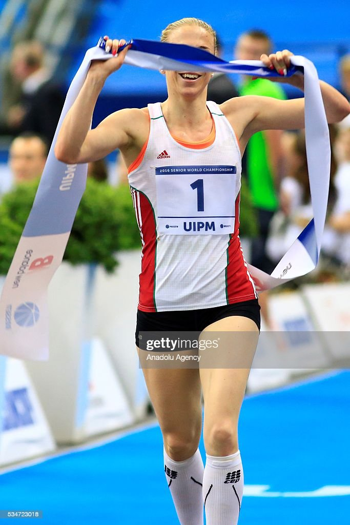Gold medalist Sarolta Kovacs of Hungary compete during the women's final at the UIPM senior modern pentathlon world championships in Moscow, Russia, on May 25, 2016.
