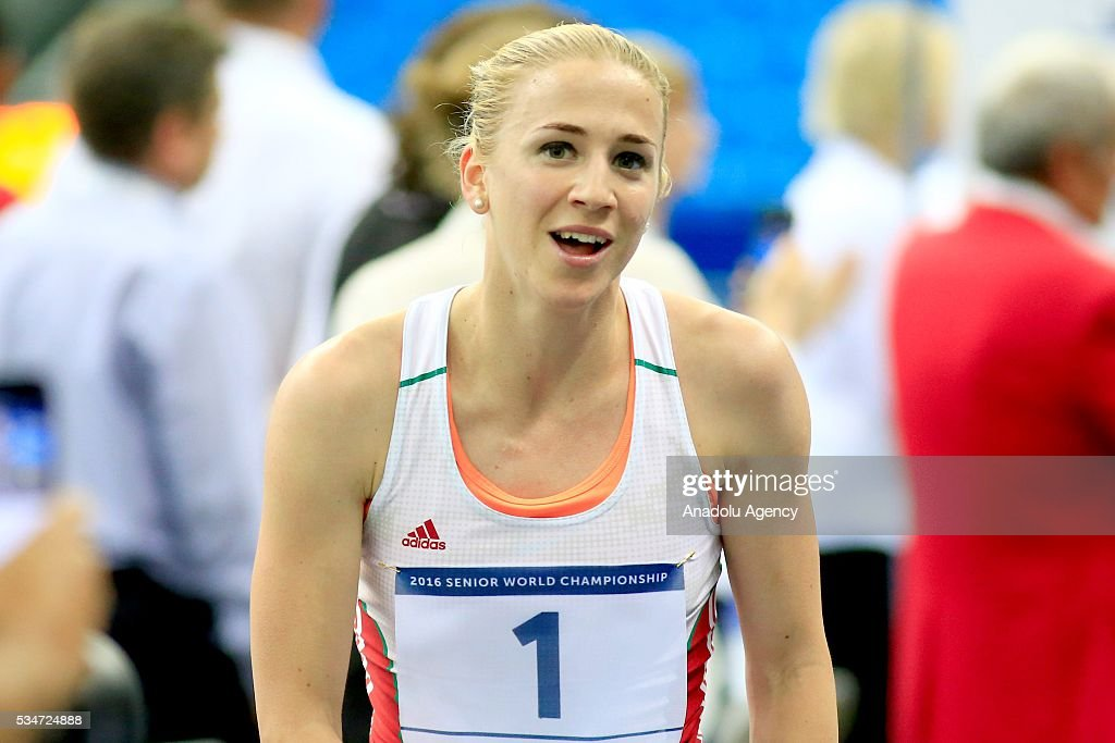 Gold medalist Sarolta Kovacs of Hungary is seen during celen the women's final at the UIPM senior modern pentathlon world championships in Moscow, Russia, on May 25, 2016.