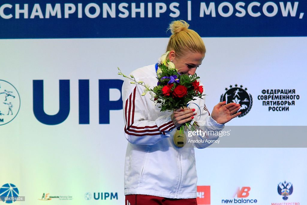 Gold medalist Sarolta Kovacs of Hungary is seen during medal ceremony following the women's final at the UIPM senior modern pentathlon world championships in Moscow, Russia, on May 25, 2016.