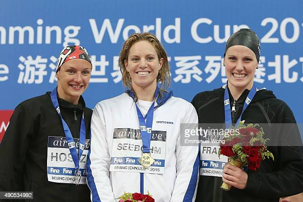 Gold medalist Seebohm Emily of AustraliaSilver medalist Hosszu Katinka of Hungary and bronze medalist Frankin Missy of USA poses during the medal...