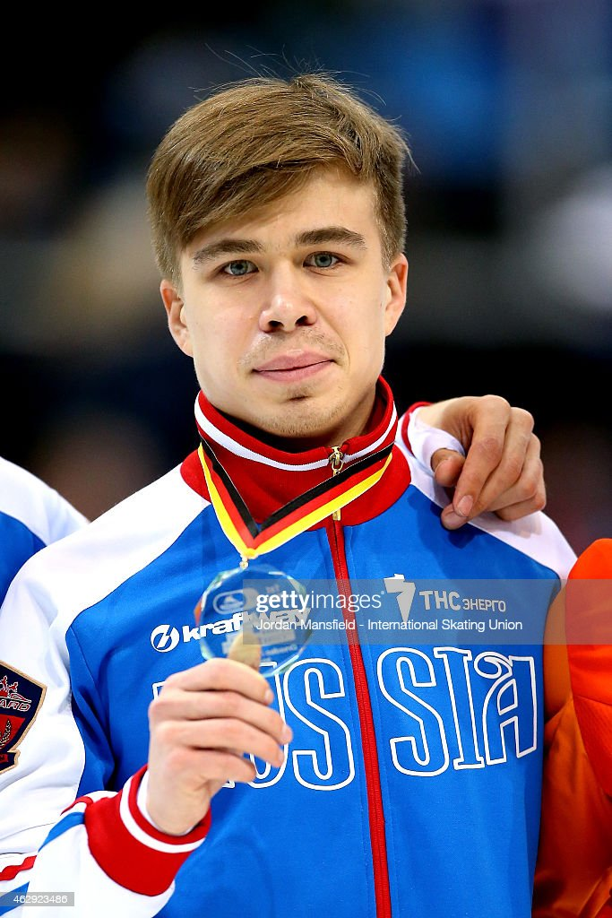 Gold medalist Semion Elistratov of Russia poses for a picture after winning the Men's 1000m final on day 1 of the ISU World Cup Short Track Speed Skating on February 7, 2015 in Dresden, Germany.