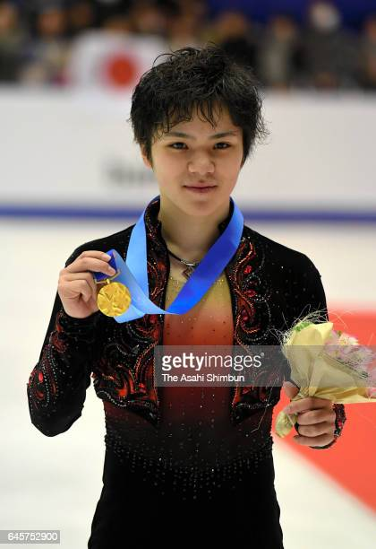 Gold medalist Shoma Uno of Japan poses on the podium at the medal ceremony for the figure skating men's singles on day nine of the 2017 Sapporo Asian...