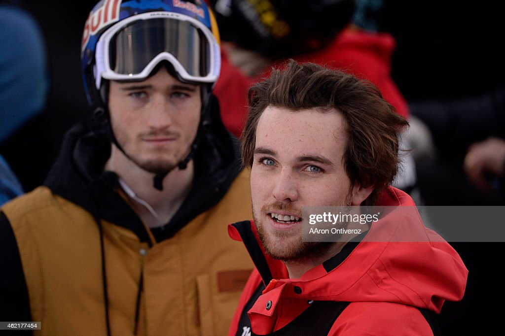 Gold medalist Simon d'Artois reacts to silver medalist <a gi-track='captionPersonalityLinkClicked' href=/galleries/search?phrase=Kevin+Rolland&family=editorial&specificpeople=4840688 ng-click='$event.stopPropagation()'>Kevin Rolland</a>'s score during the men's ski half pipe final. Winter X Games on Sunday, January 25, 2015.
