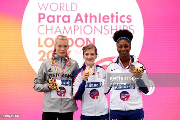 Gold medalist Sophie Hahn of Great Britain Silver medalist Lindy Ave of Germany and Bronze medalist Kadeena Cox of Great Britain pose with their...