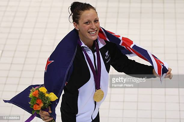 Gold medalist Sophie Pascoe of New Zealand celebrates with her medal after winning the Women's 100m Freestyle S10 final on day 8 of the London 2012...