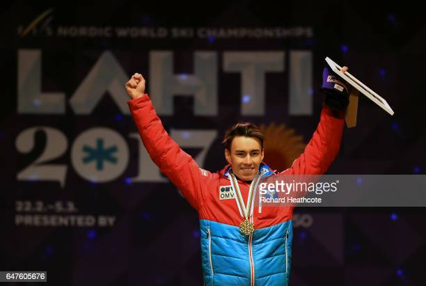 Gold medalist Stefan Kraft of Austria celebrates during the medal ceremony for the Men's Ski Jumping HS130 at the FIS Nordic World Ski Championships...
