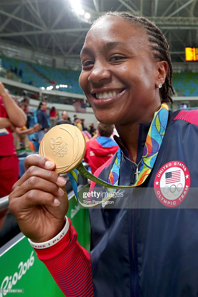Gold medalist Tamika Catchings #10 of United States celebrates after the Women's Basketball competition on Day 15 of the Rio 2016 Olympic Games at Carioca Arena 1 on August 20, 2016 in Rio de Janeiro, Brazil.