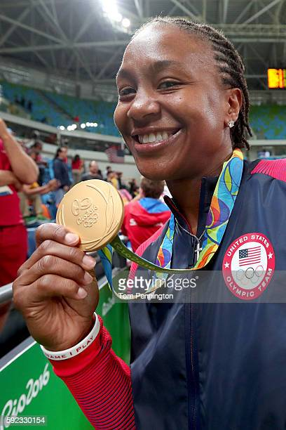 Gold medalist Tamika Catchings of United States celebrates after the Women's Basketball competition on Day 15 of the Rio 2016 Olympic Games at...