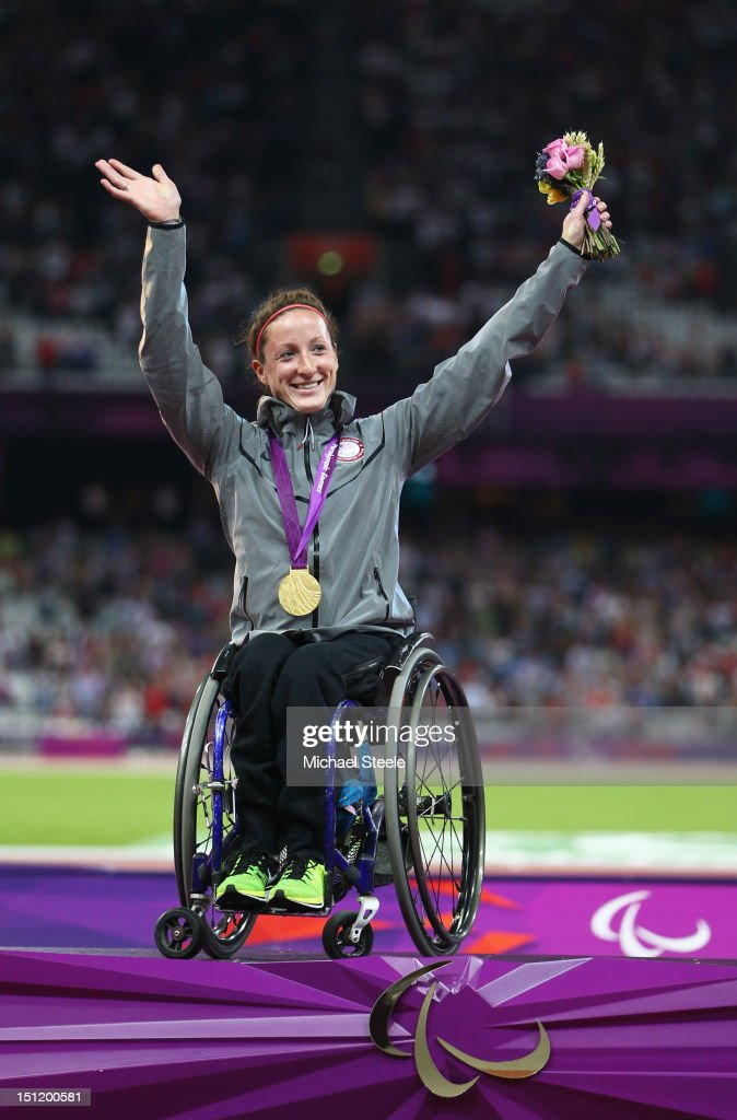 Gold medalist Tatyana Mcfadden of the United States poses on the podium during the medal ceremony for the Women's 400m - T54 Final on day 5 of the London 2012 Paralympic Games at Olympic Stadium on September 3, 2012 in London, England.