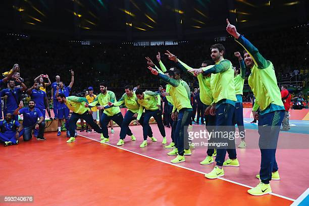 Gold medalist team Brazil celebrate following the medal ceremony of the Men's Gold Medal Match between Italy and Brazil on Day 16 of the Rio 2016...