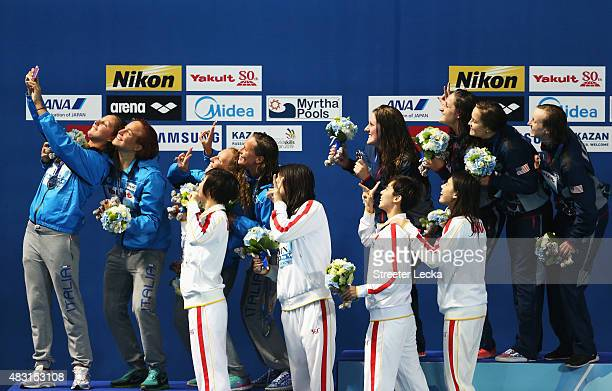 Gold medalist Team United States poses with silver medalist Team Italy and bronze medalists Team China during the medal ceremony for the Women's...