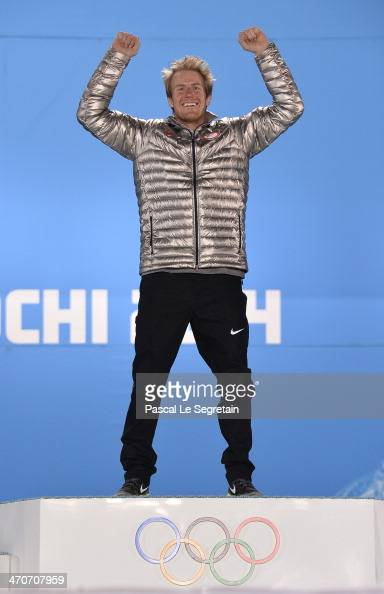 Gold medalist Ted Ligety of the United States celebrates during the medal ceremony for the Alpine Skiing Men's Giant Slalom on day thirteen of the...
