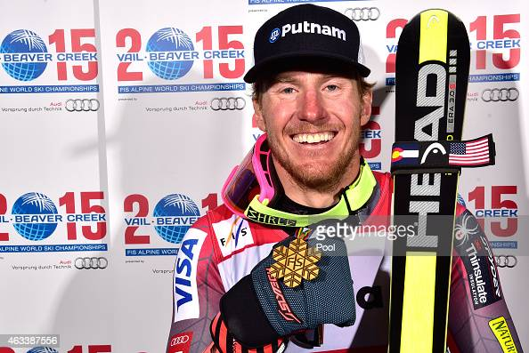 Gold medalist Ted Ligety of the United States poses after the Men's Giant Slalom on Day 12 of the 2015 FIS Alpine World Ski Championships on February...