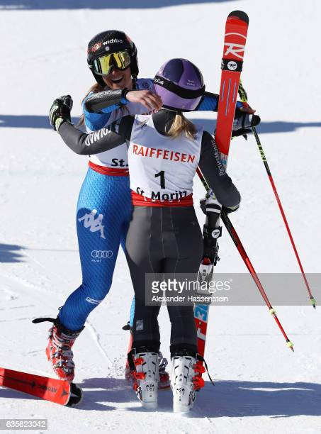 Gold medalist Tessa Worley of France celebrates with bronze medalist Sofia Goggia of Italy after the Women's Giant Slalom during the FIS Alpine World...