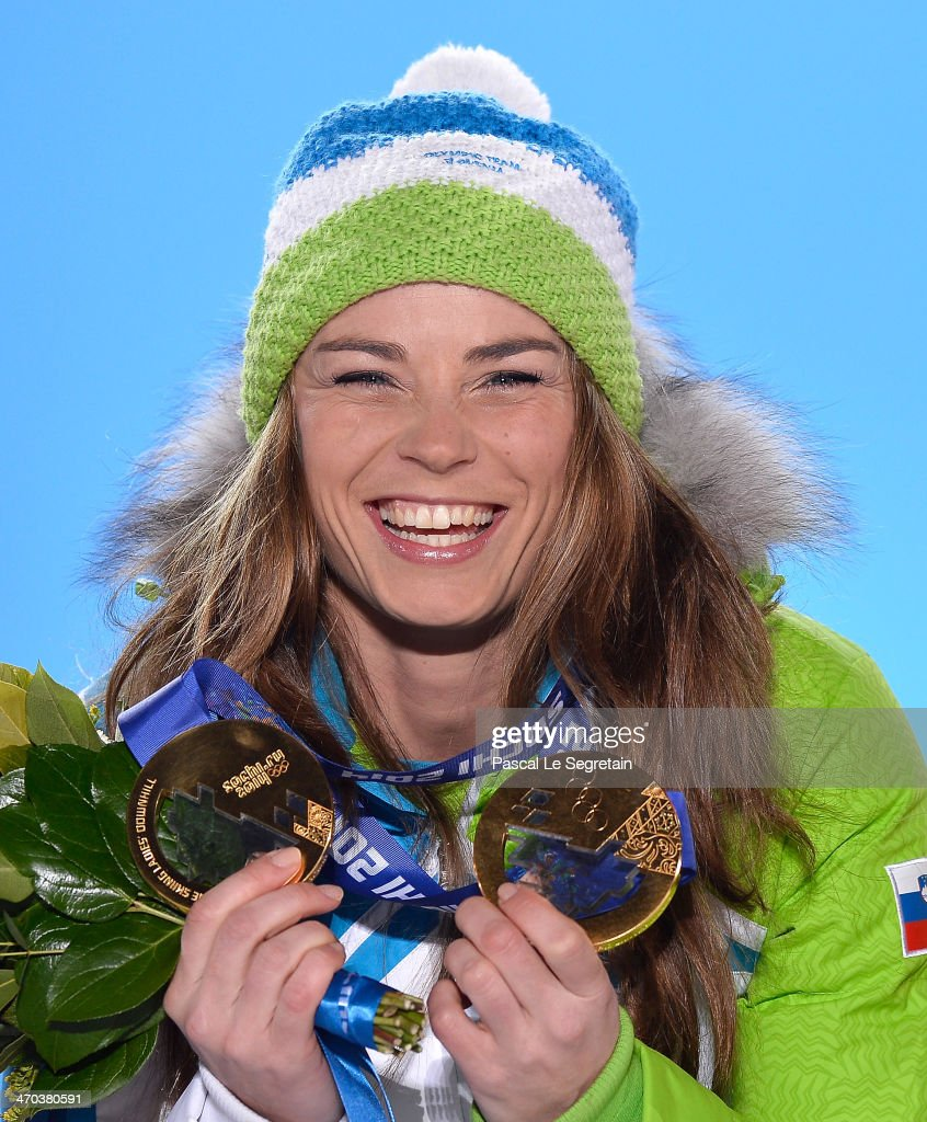 Gold medalist Tina Maze of Slovenia celebrates during the medal ceremony for the Women's Giant Slalom on day twelve of the Sochi 2014 Winter Olympics at at Medals Plaza on February 19, 2014 in Sochi, Russia.