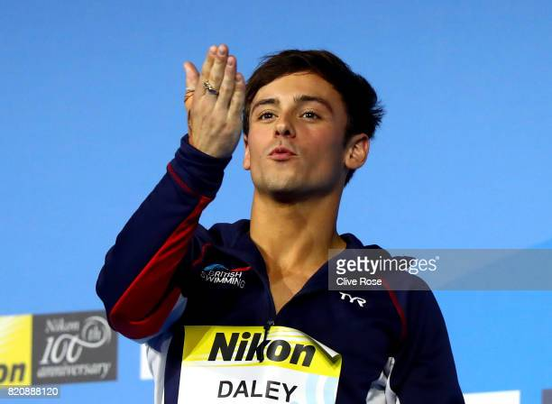 Gold medalist Tom Daley of Great Britain celebrates during the medal ceremony Men's 10M Platform final on day nine of the Budapest 2017 FINA World...
