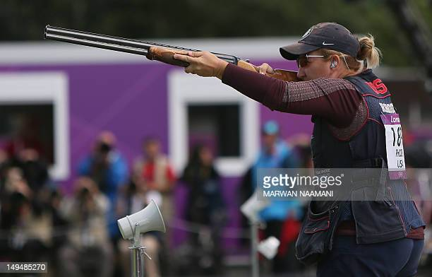 Gold medalist US' Kimberly Rhode competes during the women's shooting skeet final of the London 2012 Olympic Games at the Royal Artillery Barracks in...