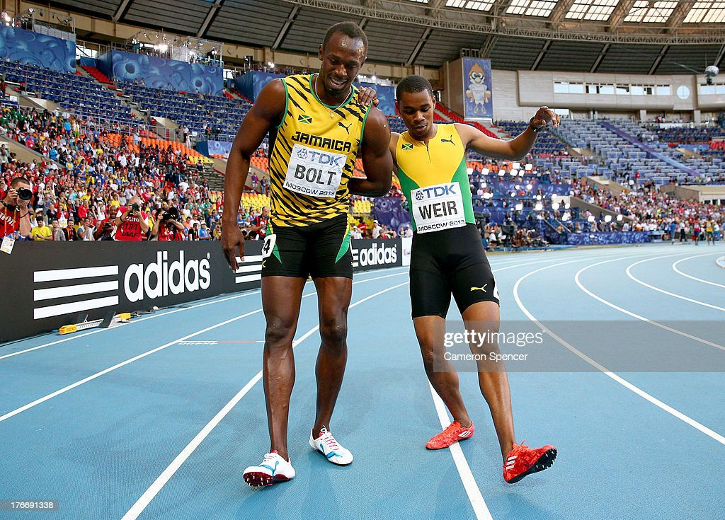 Gold medalist <a gi-track='captionPersonalityLinkClicked' href=/galleries/search?phrase=Usain+Bolt&family=editorial&specificpeople=604196 ng-click='$event.stopPropagation()'>Usain Bolt</a> of Jamaica celebrates with silver medalist <a gi-track='captionPersonalityLinkClicked' href=/galleries/search?phrase=Warren+Weir&family=editorial&specificpeople=9482526 ng-click='$event.stopPropagation()'>Warren Weir</a> of Jamaica after the Men's 200 metres final during Day Eight of the 14th IAAF World Athletics Championships Moscow 2013 at Luzhniki Stadium on August 17, 2013 in Moscow, Russia.