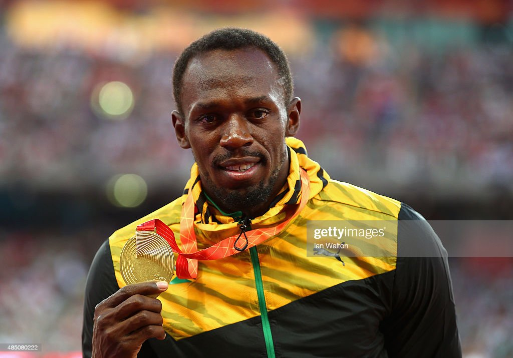 Gold medalist <a gi-track='captionPersonalityLinkClicked' href=/galleries/search?phrase=Usain+Bolt&family=editorial&specificpeople=604196 ng-click='$event.stopPropagation()'>Usain Bolt</a> of Jamaica poses on the podium during the medal ceremony for the Men's 100 metres final during day three of the 15th IAAF World Athletics Championships Beijing 2015 at Beijing National Stadium on August 24, 2015 in Beijing, China.