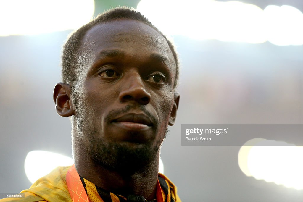 Gold medalist <a gi-track='captionPersonalityLinkClicked' href=/galleries/search?phrase=Usain+Bolt&family=editorial&specificpeople=604196 ng-click='$event.stopPropagation()'>Usain Bolt</a> of Jamaica poses on the podium during the medal ceremony for the Men's 4x100 Metres Relay final during day nine of the 15th IAAF World Athletics Championships Beijing 2015 at Beijing National Stadium on August 30, 2015 in Beijing, China.