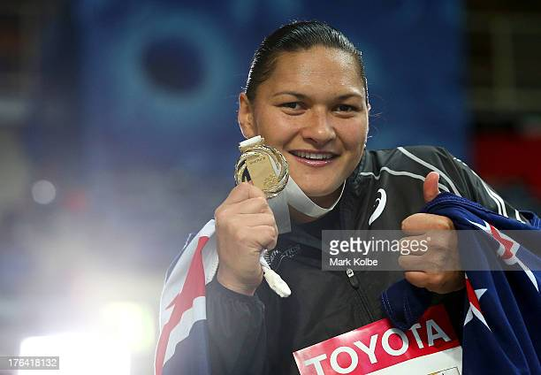 Gold medalist Valerie Adams of New Zealand on the podium during the medal ceremony for the Women's Shot Put during Day Three of the 14th IAAF World...