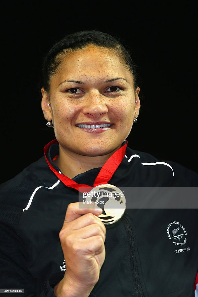Gold medalist <a gi-track='captionPersonalityLinkClicked' href=/galleries/search?phrase=Valerie+Adams&family=editorial&specificpeople=2174723 ng-click='$event.stopPropagation()'>Valerie Adams</a> of New Zealand poses on the podium during the medal ceremony for the Women's Shot Put at Hampden Park during day seven of the Glasgow 2014 Commonwealth Games on July 30, 2014 in Glasgow, United Kingdom.