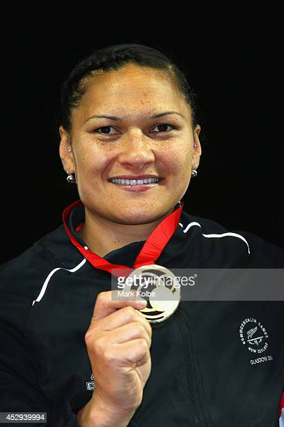 Gold medalist Valerie Adams of New Zealand poses on the podium during the medal ceremony for the Women's Shot Put at Hampden Park during day seven of...