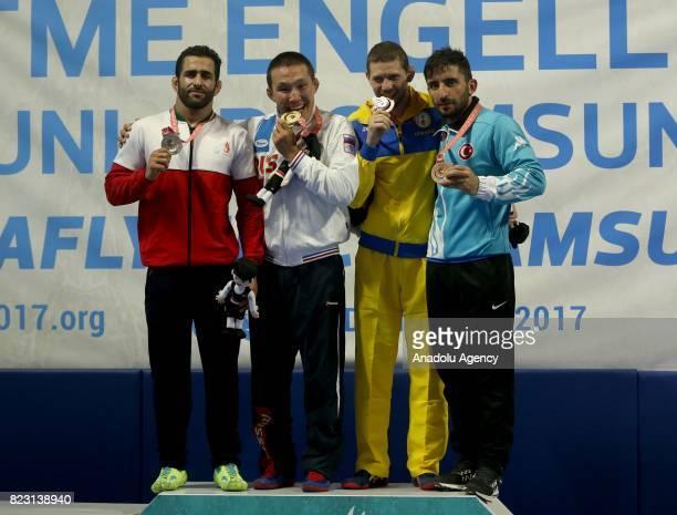 Gold Medalist Vasiliy Strekalovsky of Russia silver medalist Hossein Derikvand of Iran bronze medalist Vitaliy Korepanov of Ukraine and bronze...