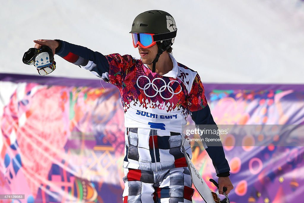 Gold medalist <a gi-track='captionPersonalityLinkClicked' href=/galleries/search?phrase=Vic+Wild&family=editorial&specificpeople=6691731 ng-click='$event.stopPropagation()'>Vic Wild</a> of Russia celebrates in the Snowboard Men's Parallel Slalom Big Final on day 15 of the 2014 Winter Olympics at Rosa Khutor Extreme Park on February 22, 2014 in Sochi, Russia.