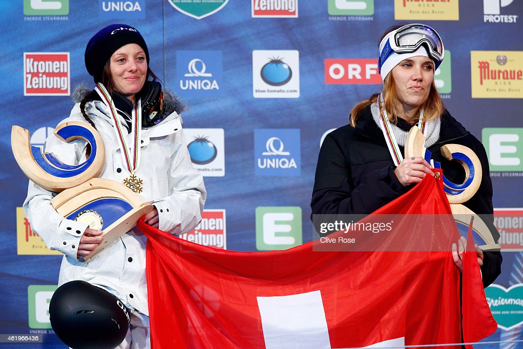Gold medalist <a gi-track='captionPersonalityLinkClicked' href=/galleries/search?phrase=Virginie+Faivre&family=editorial&specificpeople=786060 ng-click='$event.stopPropagation()'>Virginie Faivre</a> of Switzerland and bronze medalist Mirjam Jaeger of Switzerland pose with the medals won in the Women's Ski Halfpipe Finals during the FIS Freestyle Ski and Snowboard World Championships 2015 on January 22, 2015 in Kreischberg, Austria
