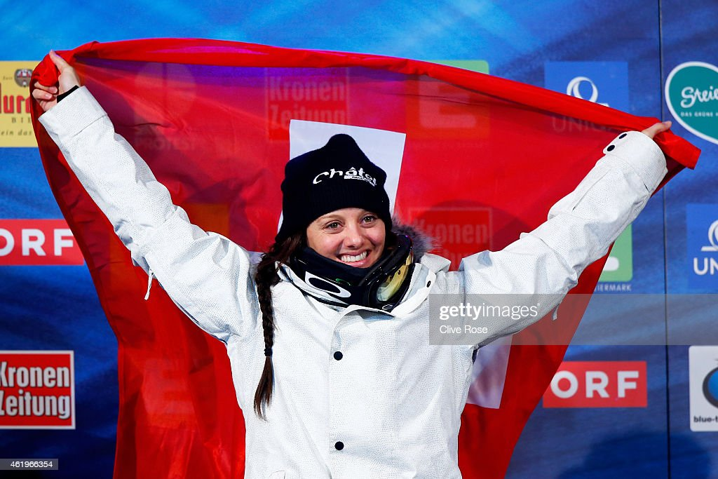 Gold medalist <a gi-track='captionPersonalityLinkClicked' href=/galleries/search?phrase=Virginie+Faivre&family=editorial&specificpeople=786060 ng-click='$event.stopPropagation()'>Virginie Faivre</a> of Switzerland celebrates following the Women's Ski Halfpipe Finals during the FIS Freestyle Ski and Snowboard World Championships 2015 on January 22, 2015 in Kreischberg, Austria