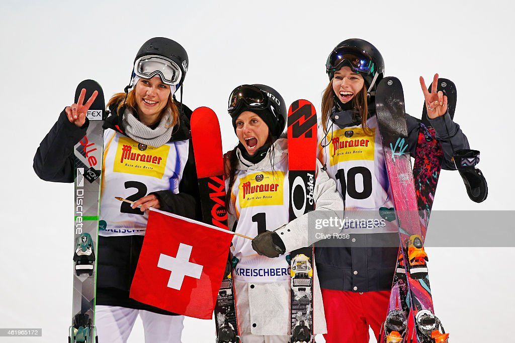 Gold medalist <a gi-track='captionPersonalityLinkClicked' href=/galleries/search?phrase=Virginie+Faivre&family=editorial&specificpeople=786060 ng-click='$event.stopPropagation()'>Virginie Faivre</a> (C) of Switzerland celebrates with silver medalist Cassie Sharpe (R) of Canada and bronze medalist Mirjam Jaeger (L) of Switzerland following the Women's Ski Halfpipe Finals during the FIS Freestyle Ski and Snowboard World Championships 2015 on January 22, 2015 in Kreischberg, Austria
