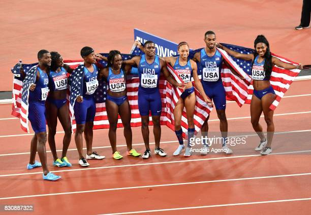 Gold medalist Women's 4x100 Metres Relay team Aaliyah Brown Allyson Felix Morolake Akinosun and Tori Bowie of the USA celebrate their victory with...