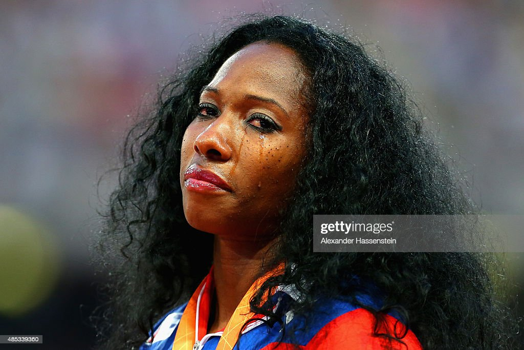 Gold medalist <a gi-track='captionPersonalityLinkClicked' href=/galleries/search?phrase=Yarisley+Silva&family=editorial&specificpeople=4425121 ng-click='$event.stopPropagation()'>Yarisley Silva</a> of Cuba shows her emotion on the podium during the medal ceremony for the Women's Pole Vault final during day six of the 15th IAAF World Athletics Championships Beijing 2015 at Beijing National Stadium on August 27, 2015 in Beijing, China.