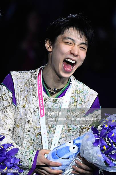 Gold medalist Yuzuru Hanyu of Japan poses during the Men final medals ceremony during day three of the ISU Grand Prix of Figure Skating Final...