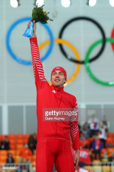 Gold medalist Zbigniew Brodka of Poland celebrates during the flower ceremony for the Men's 1500m Speed Skating event on day 8 of the Sochi 2014...