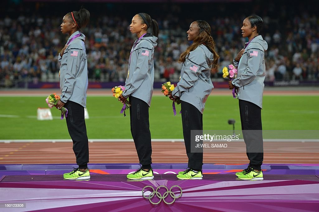 ¿Cuánto mide Allyson Felix? - Real height Gold-medalists-carmelita-jeter-tianna-madison-allyson-felix-and-on-picture-id150123306