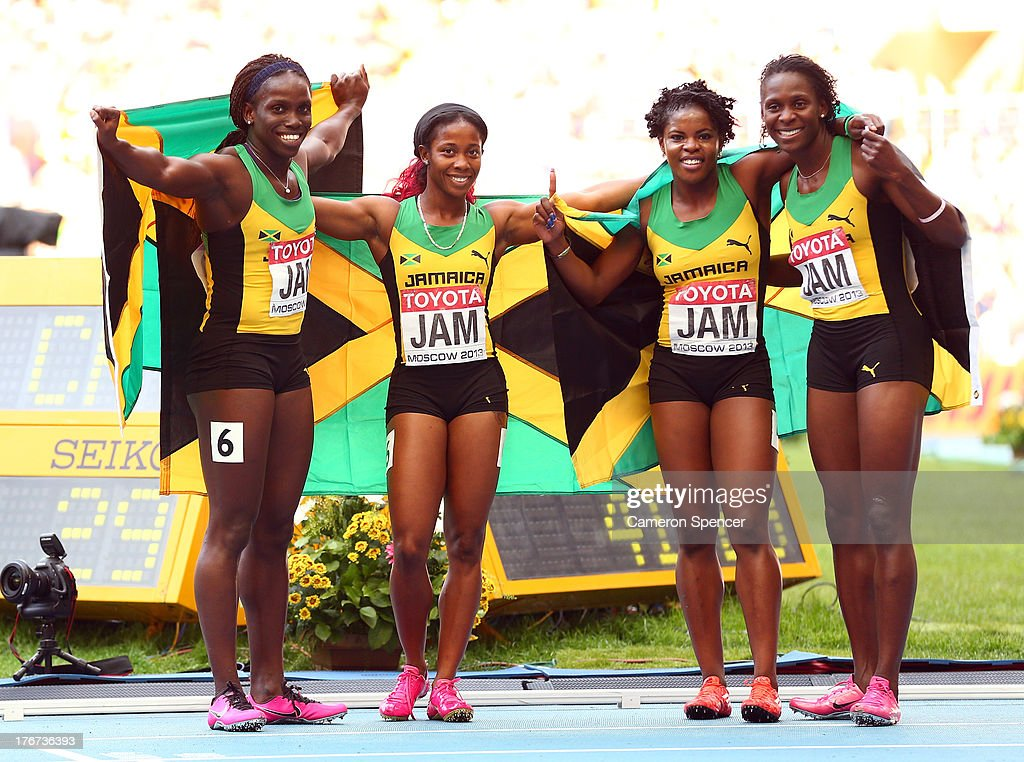 Gold medalists (L-R) Carrie Russell, <a gi-track='captionPersonalityLinkClicked' href=/galleries/search?phrase=Shelly-Ann+Fraser&family=editorial&specificpeople=5493833 ng-click='$event.stopPropagation()'>Shelly-Ann Fraser</a>-Pryce, <a gi-track='captionPersonalityLinkClicked' href=/galleries/search?phrase=Schillonie+Calvert&family=editorial&specificpeople=2133069 ng-click='$event.stopPropagation()'>Schillonie Calvert</a> and <a gi-track='captionPersonalityLinkClicked' href=/galleries/search?phrase=Nickiesha+Wilson&family=editorial&specificpeople=4474602 ng-click='$event.stopPropagation()'>Nickiesha Wilson</a> of Jamaica pose after the Women's 4x100 metres final during Day Nine of the 14th IAAF World Athletics Championships Moscow 2013 at Luzhniki Stadium on August 18, 2013 in Moscow, Russia.