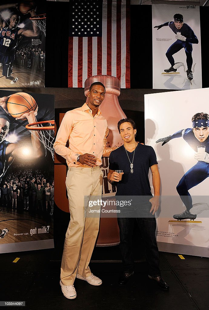Gold Medalists Chris Bosh and Apolo Anton Ohno launch the Refuel America Program and unveils the newest Milk Mustache ads at the 92nd Street Y on August 11, 2010 in New York City. Gold medalists Chris Bosh, Apolo Anton Ohno and Shawn Johnson teamed up today to announce a new campaign highlighting the importance of refueling with lowfat chocolate milk during the two-hour recovery window after exercise.