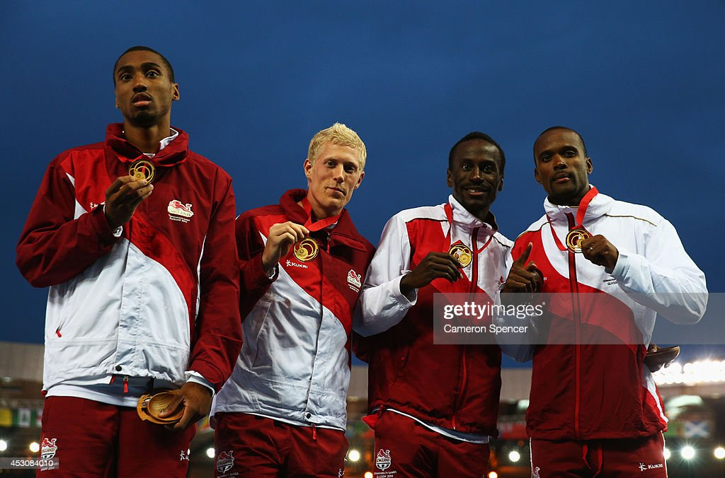 Gold medalists <a gi-track='captionPersonalityLinkClicked' href=/galleries/search?phrase=Conrad+Williams+-+Track+and+Field+Athlete&family=editorial&specificpeople=5934383 ng-click='$event.stopPropagation()'>Conrad Williams</a>, <a gi-track='captionPersonalityLinkClicked' href=/galleries/search?phrase=Matthew+Hudson-Smith&family=editorial&specificpeople=7910892 ng-click='$event.stopPropagation()'>Matthew Hudson-Smith</a>, <a gi-track='captionPersonalityLinkClicked' href=/galleries/search?phrase=Michael+Bingham&family=editorial&specificpeople=5435142 ng-click='$event.stopPropagation()'>Michael Bingham</a> and <a gi-track='captionPersonalityLinkClicked' href=/galleries/search?phrase=Daniel+Awde&family=editorial&specificpeople=2161356 ng-click='$event.stopPropagation()'>Daniel Awde</a> of England pose during the medal ceremony for the Men's 4x400 metres relay at Hampden Park during day ten of the Glasgow 2014 Commonwealth Games on August 2, 2014 in Glasgow, United Kingdom.