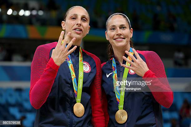 Gold medalists Diana Taurasi and Sue Bird of United States celebrate during the medal ceremony after the Women's Basketball competition on Day 15 of...