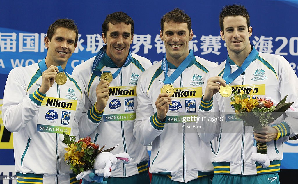 Gold medalists <a gi-track='captionPersonalityLinkClicked' href=/galleries/search?phrase=Eamon+Sullivan&family=editorial&specificpeople=769294 ng-click='$event.stopPropagation()'>Eamon Sullivan</a>, James Magnussen, Matthew Abood and Matthew Targett of Australia attend the victory ceremony for the Men's 4x100m Freestyle Relay during Day Nine of the 14th FINA World Championships at the Oriental Sports Center on July 24, 2011 in Shanghai, China. France won silver and USA won bronze.