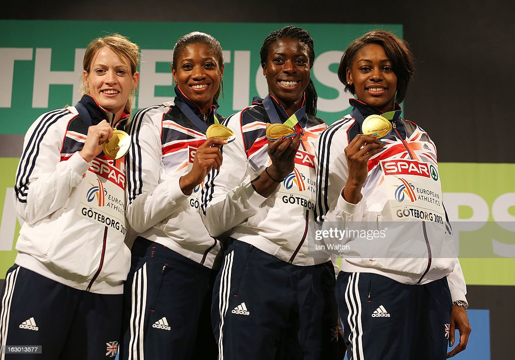 Gold medalists Eilidh Child, Shana Cox, <a gi-track='captionPersonalityLinkClicked' href=/galleries/search?phrase=Christine+Ohuruogu&family=editorial&specificpeople=703549 ng-click='$event.stopPropagation()'>Christine Ohuruogu</a> and <a gi-track='captionPersonalityLinkClicked' href=/galleries/search?phrase=Perri+Shakes-Drayton&family=editorial&specificpeople=4542235 ng-click='$event.stopPropagation()'>Perri Shakes-Drayton</a> of Great Britain and Northern Ireland pose during the victory ceremony for the Women's 4x400m Relay during day three of European Indoor Athletics at Scandinavium on March 3, 2013 in Gothenburg, Sweden.