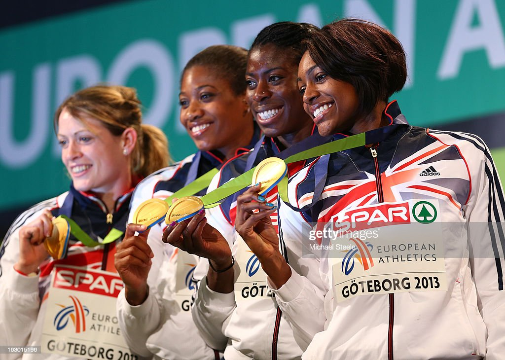 Gold medalists Eilidh Child, Shana Cox, Christine Ohuruogu and Perri Shakes-Drayton of Great Britain and Northern Ireland pose during the victory ceremony for the Women's 4x400m Relay during day three of European Indoor Athletics at Scandinavium on March 3, 2013 in Gothenburg, Sweden.