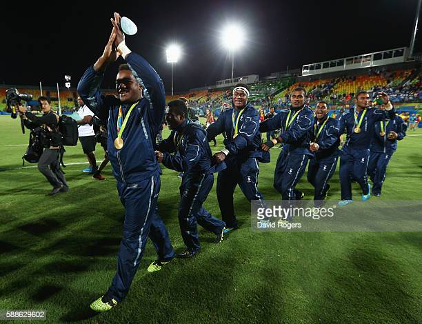 Gold medalists Fiji celebrate after the medal ceremony for the Men's Rugby Sevens on Day 6 of the Rio 2016 Olympics at Deodoro Stadium on August 11...